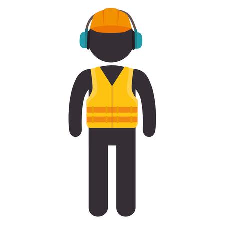seguridad industrial: worker wearing  industrial security protection equipment. vector illustration