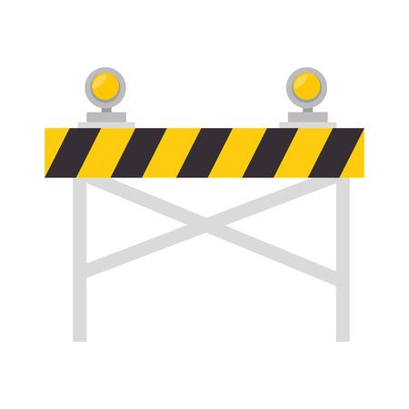 single entry: road barrier with lights warning construction sign vector illustration Illustration