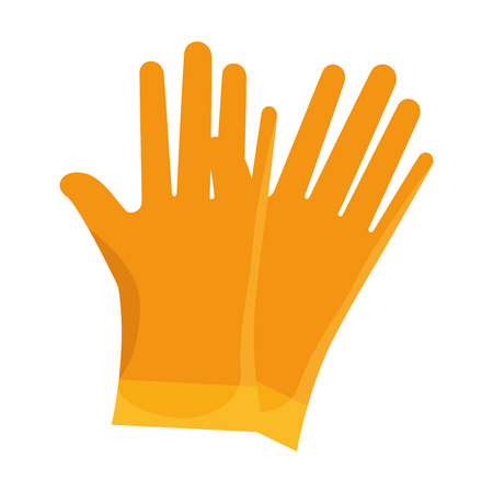 safety gloves: yellow gloves  work safety  industrial equipment vector illustration