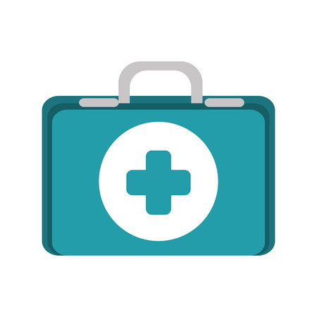 firstaid: first aid kit suitcase healthcare equipment vector illustration
