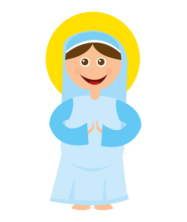 christian festival: virgin mary manger character vector illustration design