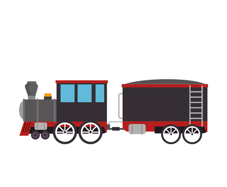 railroad crossing: cargo old train rail transport vehicle vector illustration