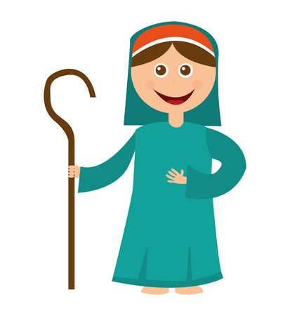 christian festival: shepherb cute manger character vector illustration design