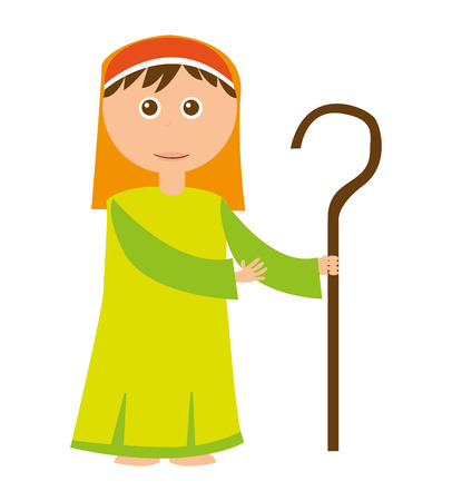 shepherb cute manger character vector illustration design