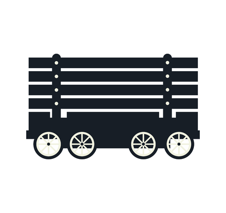 rail: cargo wagon train rail  vehicle transport silhouette vector illustration