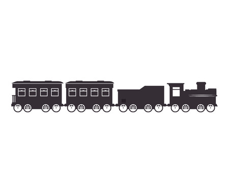 old train: old train rail transport vehicle silhouette vector illustration