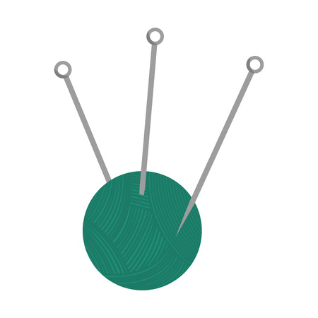 yarn ball with needles. thread knit sewing equipment. Vector illustration