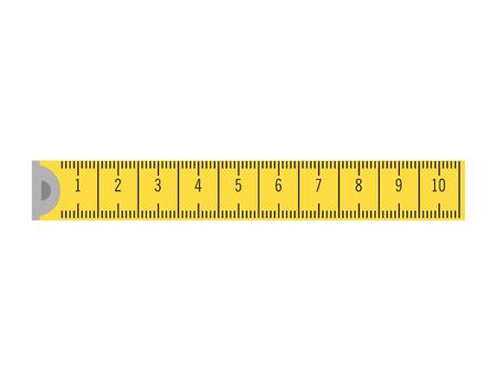 cinta métrica amarilla. vector de ilustración instrumento de precisión regla