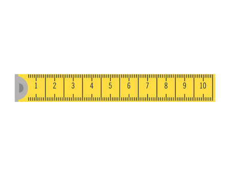 precision: yellow tape measure. ruler precision instrument vector illustration Illustration