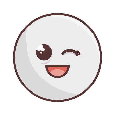hapiness: kawaii cartoon face hapiness expression emoticon vector illustration