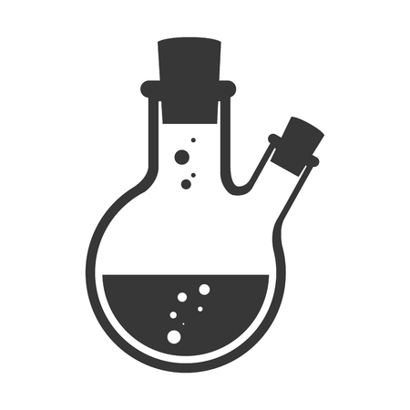 industry icons: straus flask liquid chemical chemistry bottle laboratory scientific object silhouette vector illustration Illustration