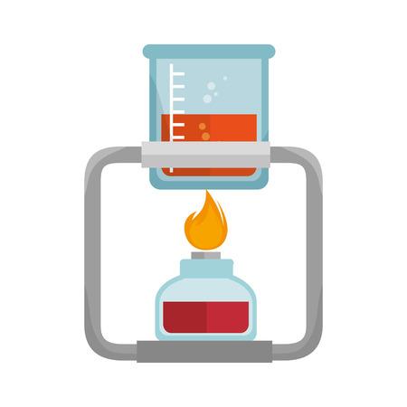 illuminator: spirit lamp chemical alcohol fire burner with beaker glass. vector illustration Illustration