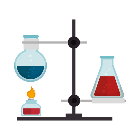 chemical glass flask bottles burning with spirit lamp. chemistry laboratory items. vector illustration