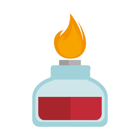 spirit lamp chemical alcohol fire  burner. vector illustration