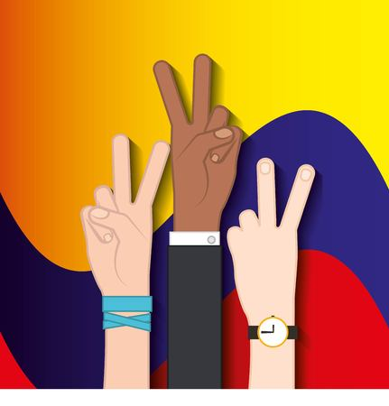 colombian peace hands symbol vector illustration design Ilustrace