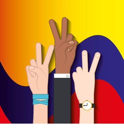 colombian peace hands symbol vector illustration design Illustration