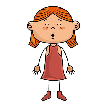 pink dress: girl kid cartoon smiling wearing pink dress vector illustration Illustration