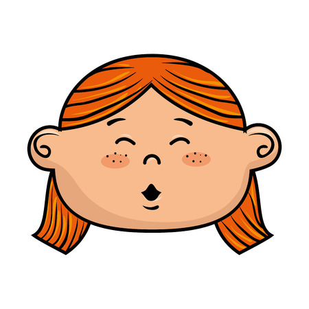 red hair: girl kid cartoon face smiling with red hair vector illustration