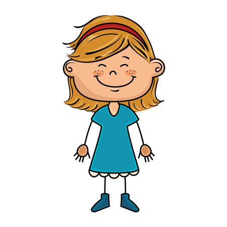 blue dress: girl kid cartoon smiling wearing blue dress vector illustration
