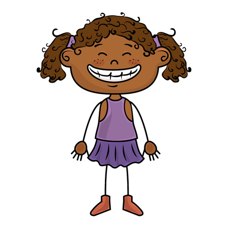 afro girl: afro girl kid cartoon smiling wearing purple dress vector illustration Illustration