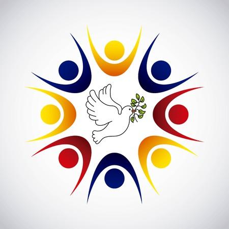 コロンビア平和のオリーブの枝ベクトル イラスト デザインと鳩  イラスト・ベクター素材