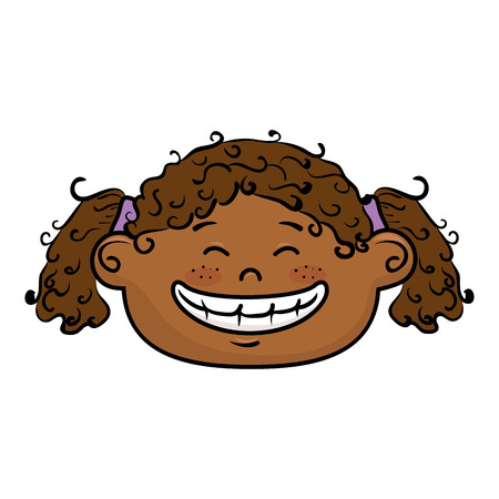 afro girl: afro girl kid cartoon face smiling with black hair vector illustration