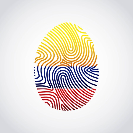 colombian flag: colombian flag fingerprint colorful icon vector illustration design