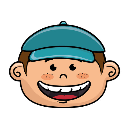 kid vector: boy smiling cartoon happy face child kid  vector illustration