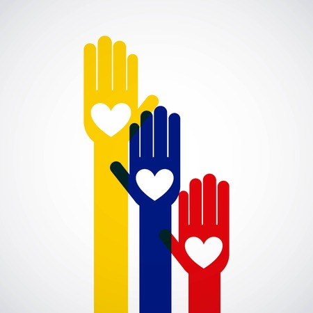 mains paix colombian symbole vecteur illustration design