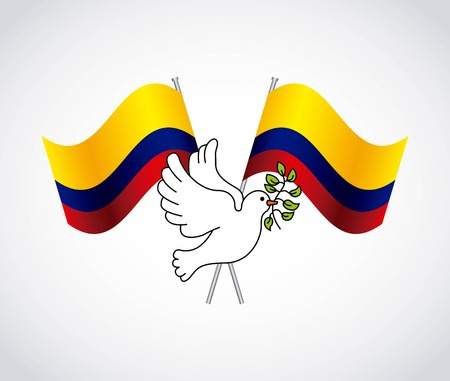 colombian: colombian peace dove with olive branch vector illustration design Illustration
