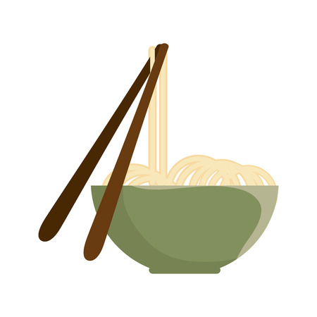 noodle bowl with chinese sticks. kitchen oriental dinner. vector illustration
