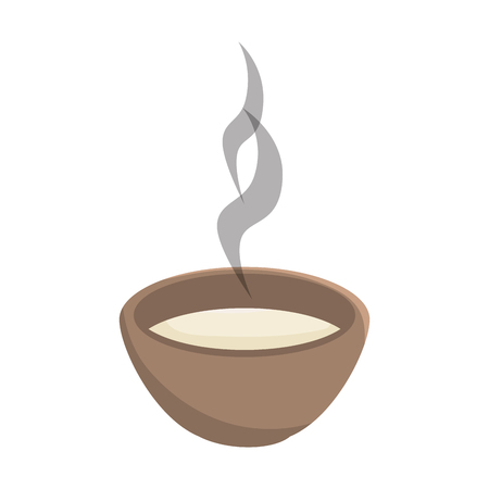 hot plate: soup bowl hot plate with steam. front view vector illustration