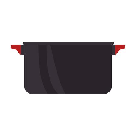 olla de negro con mango rojo. batería de cocina. ilustración vectorial