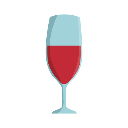 glass of red wine alcohol drink  beverage. vector illustration