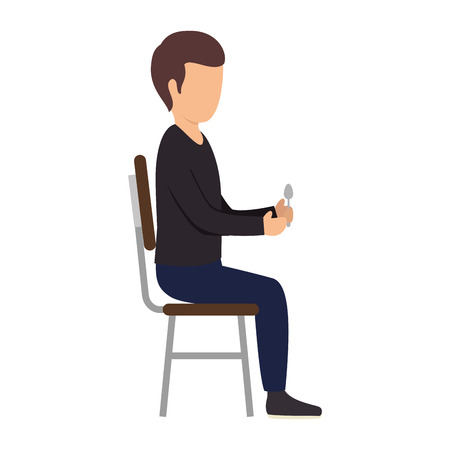 black shirt: avatar man  sitting on  chair wearing a black shirt and holding a spoon. vector illustration