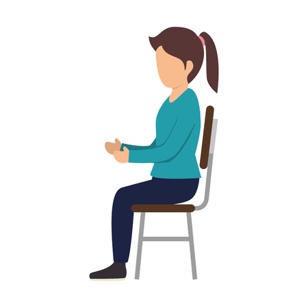 blue shirt: avatar woman girl sitting on  chair wearing a blue shirt. vector illustration
