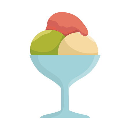 ice cream glass: Ice cream glass cup. dessert sweet food. vector illustration