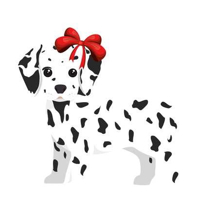 dalmatian puppy: dalmatian breed dog canine pet animal. puppy cartoon. vector illustration
