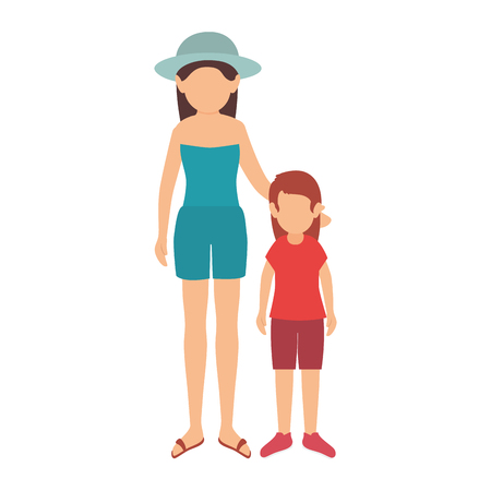 avatar little girl and woman wearing summer clothes. vector illustration
