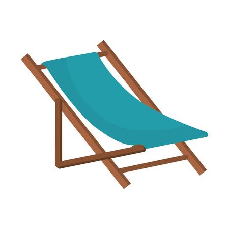 beach chair wooden. relaxing summer furniture. vector illustration