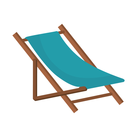 beach chair wooden. relaxing summer furniture. vector illustration