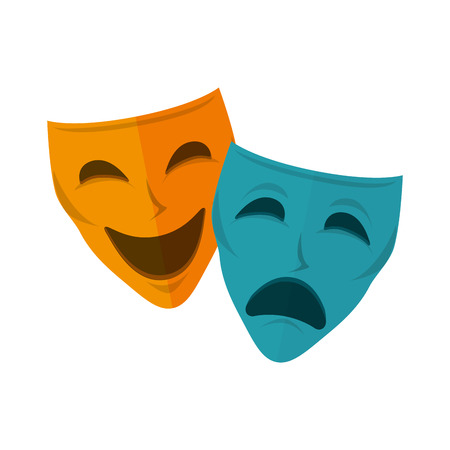 comedy: drama and comedy mask. happiness and sadness faces. vector illustration