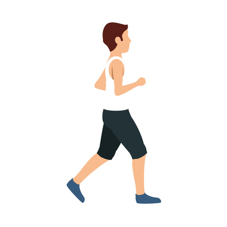 short pants: man with skinny body and wearing short pants cartoon. vector illustration