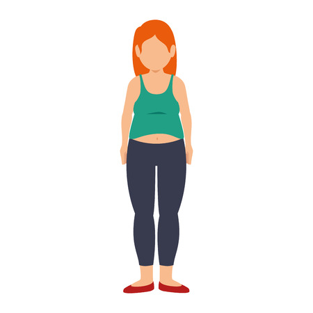 unhealthy lifestyle: fat woman female body. weight unhealthy lifestyle. vector illustration Illustration