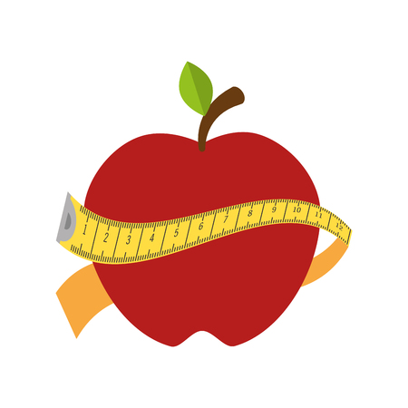 measurement tape: red apple with a yellow measurement tape. healthy food. vector illustration