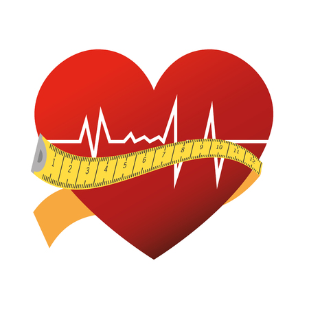 rhythm: heart cardiogram rhythm with measurement tape. silhouette vector illustration