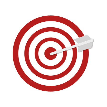 Red target with round shape and white arrow. vector illustration