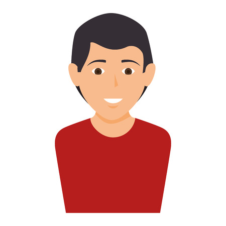 red shirt: avatar male man user person  wearing red shirt vector illustration