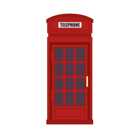 red telephone box: red british telephone cabin. london symbol. vector illustration Illustration