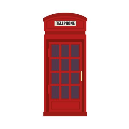 phonebox: red british telephone cabin. london symbol. vector illustration Illustration